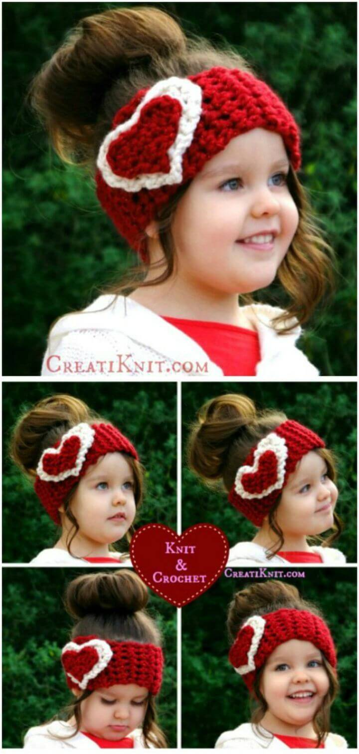 Free Crochet Little Girl's Valentine Head Warmer
