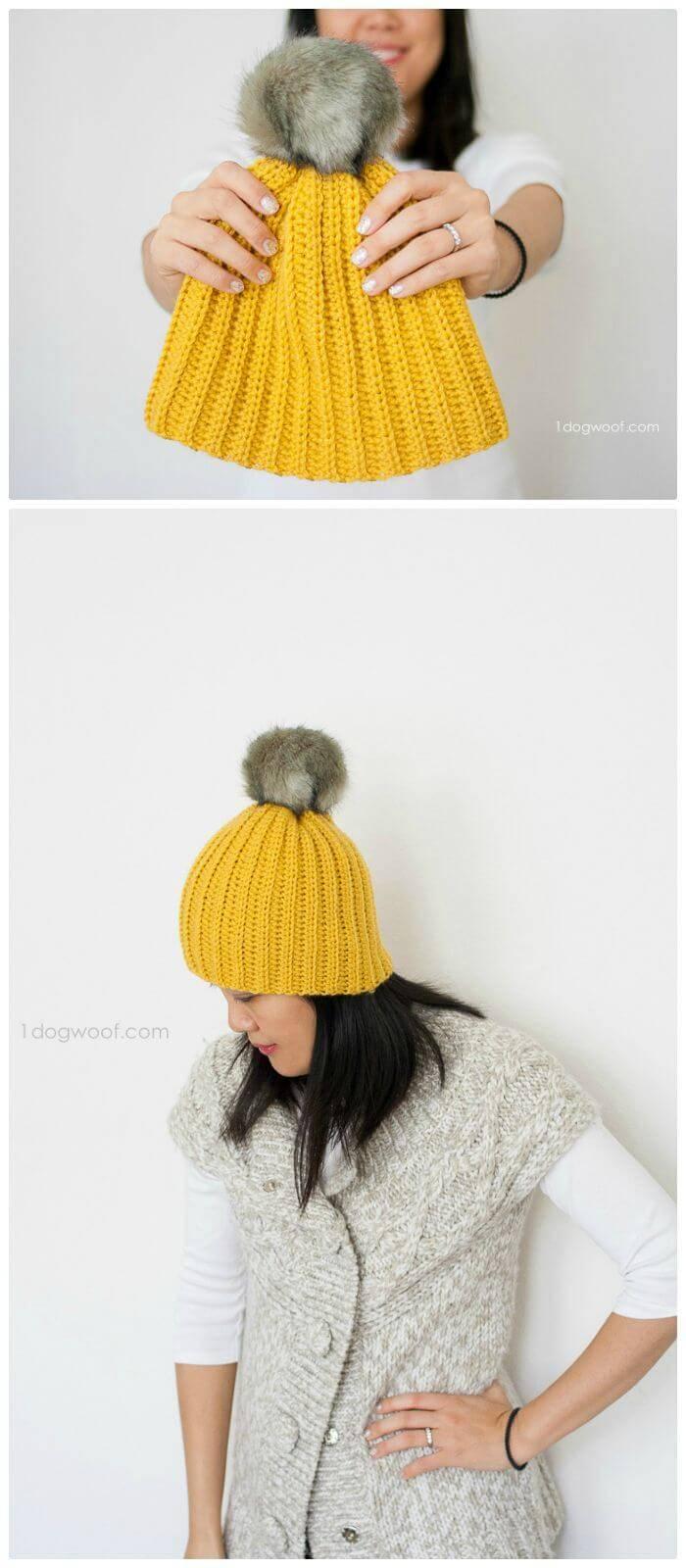 DIY Lolly-Poms Easy Ribbed Crochet Beanie
