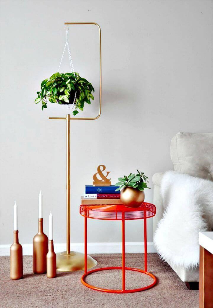 DIY Macrame Plant Hanger + Gold Plant Stand