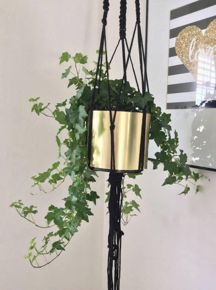 DIY Macrame Gold Plant Hanger