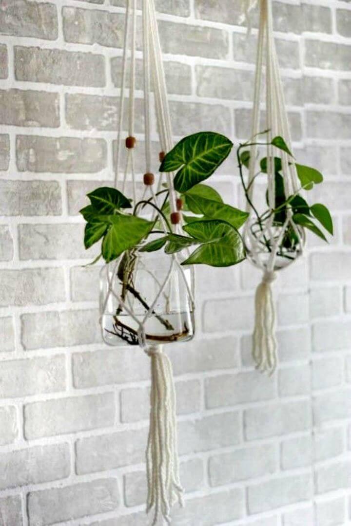 DIY Glass Macrame Hanging Plant Holder - Full Tutorial