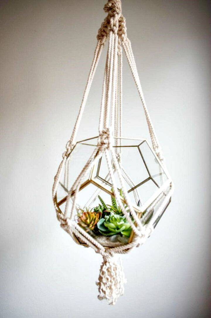 How To Make Macrame Terrarium Hanger- Full Tutorial