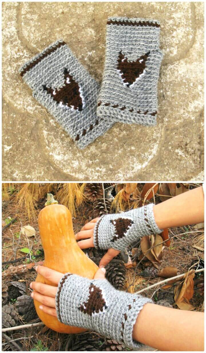 Free Crochet Mr.fox Finger-less Mitts Pattern