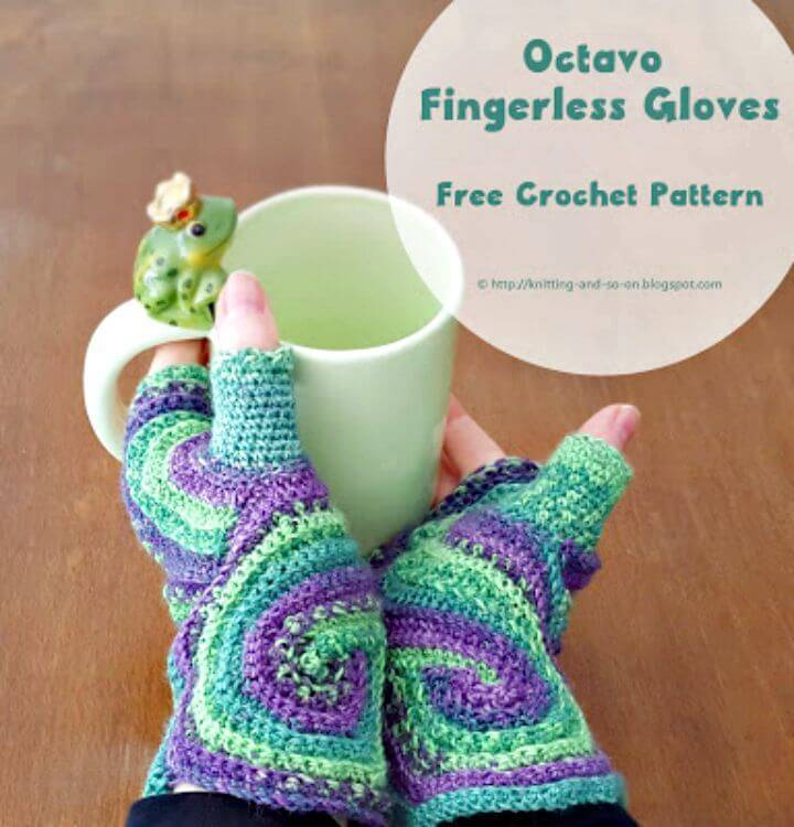 Easy Crochet Octavo Finger-less Gloves - Free Pattern