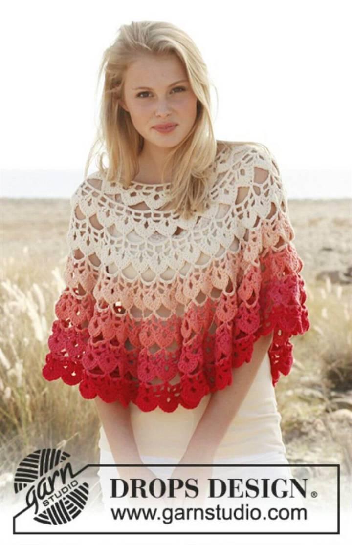 Easy Ombre Poncho - Free Crochet Pattern