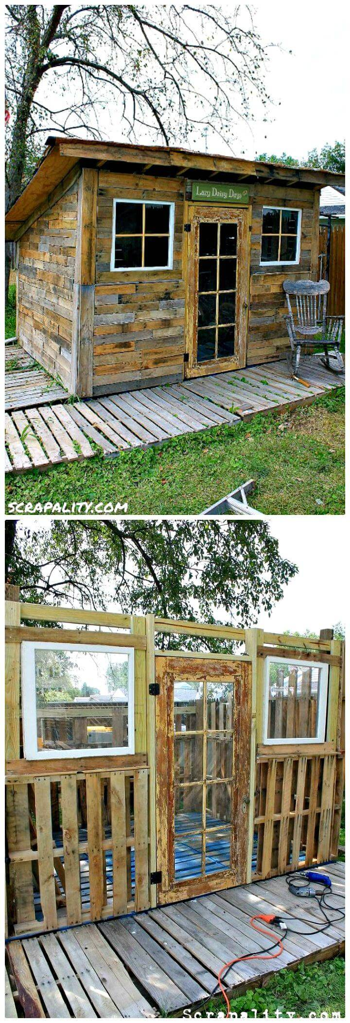 DIY Pallet Shed Using Pallets, Old Windows & Tin Cans