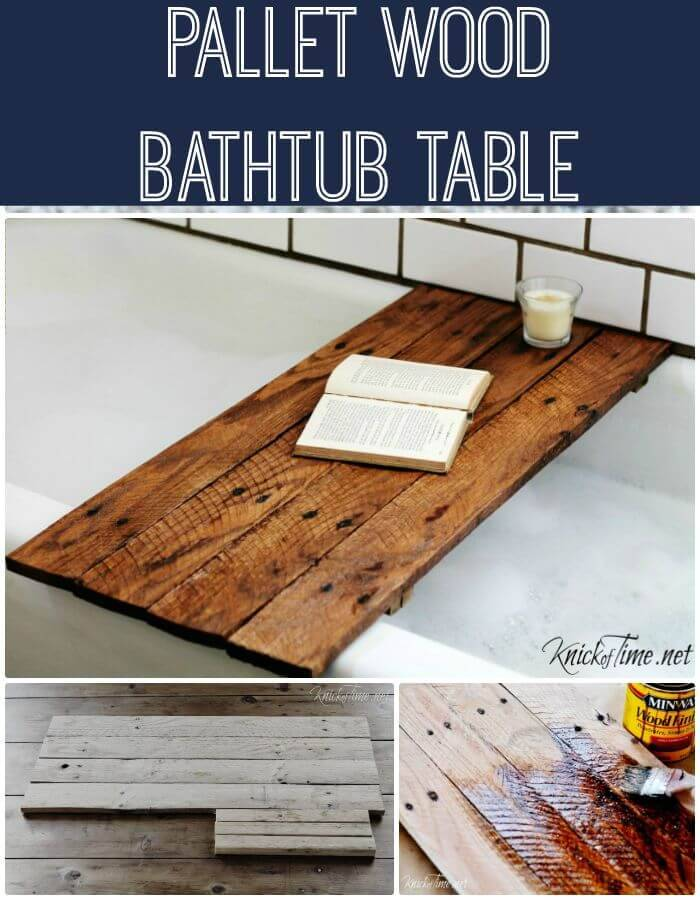 Easy DIY Pallet Wood Bathtub Table