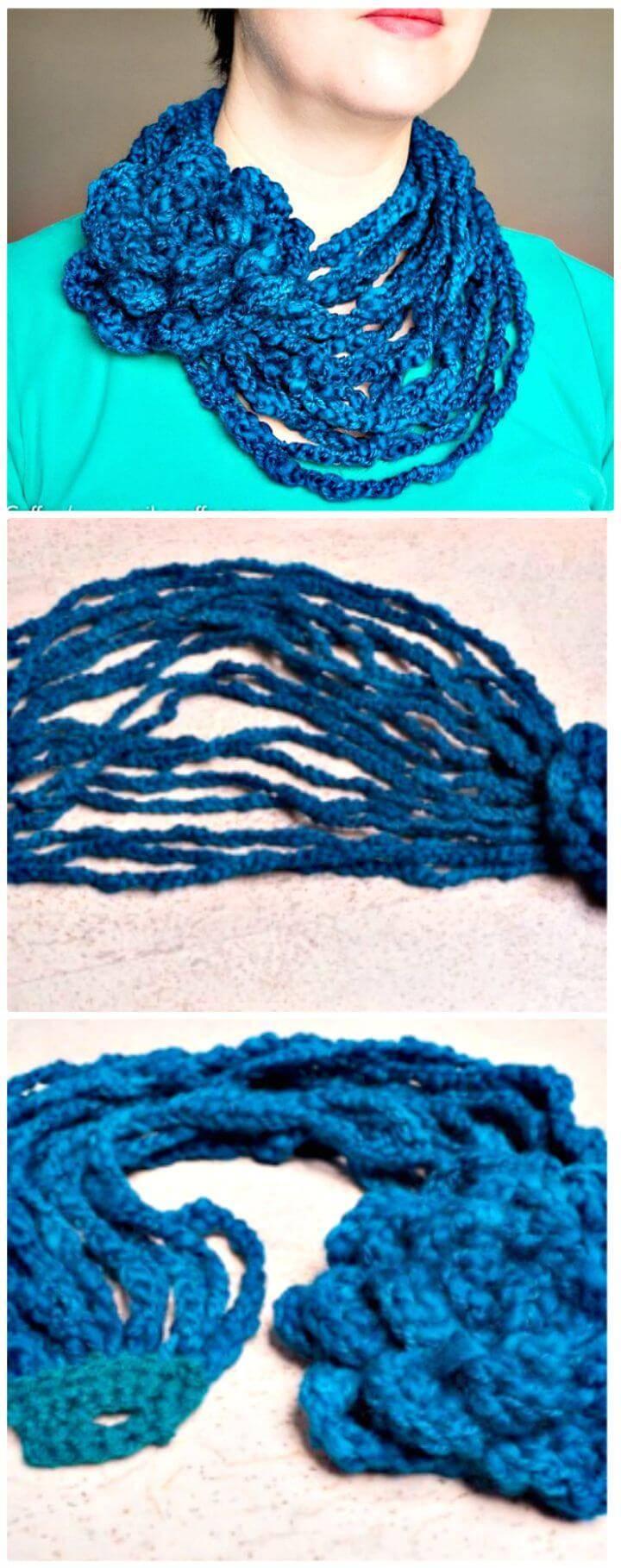 Free Crochet Peacock Neck Warmer Pattern