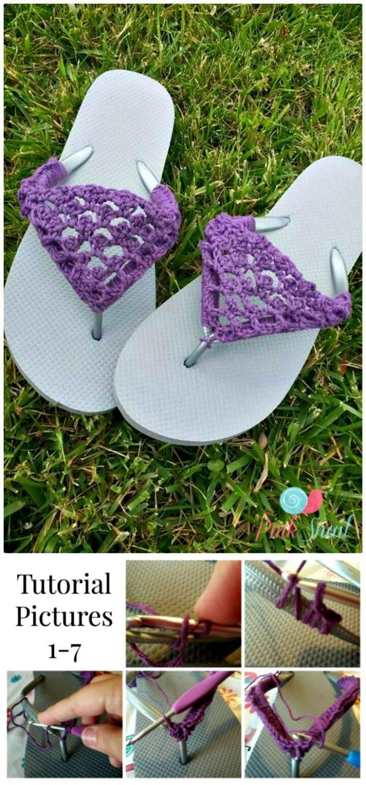Free Crochet Peekaboo Picot Flip Flops Pattern