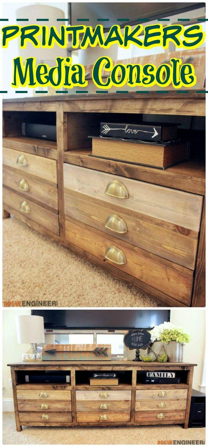Easy DIY Printmakers Media Console
