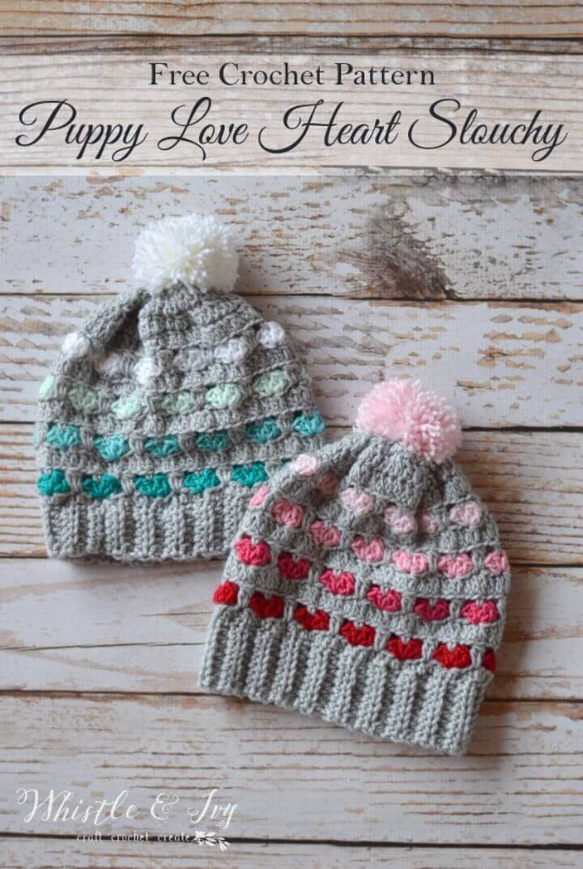 Free Crochet Puppy Love Heart Slouchy