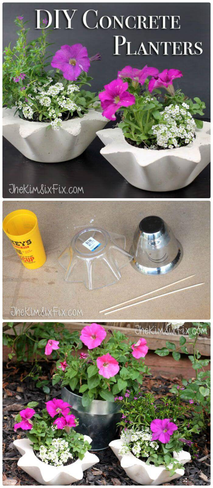 Easy DIY Scalloped Concrete Planters (From Thrift Store Bowls)