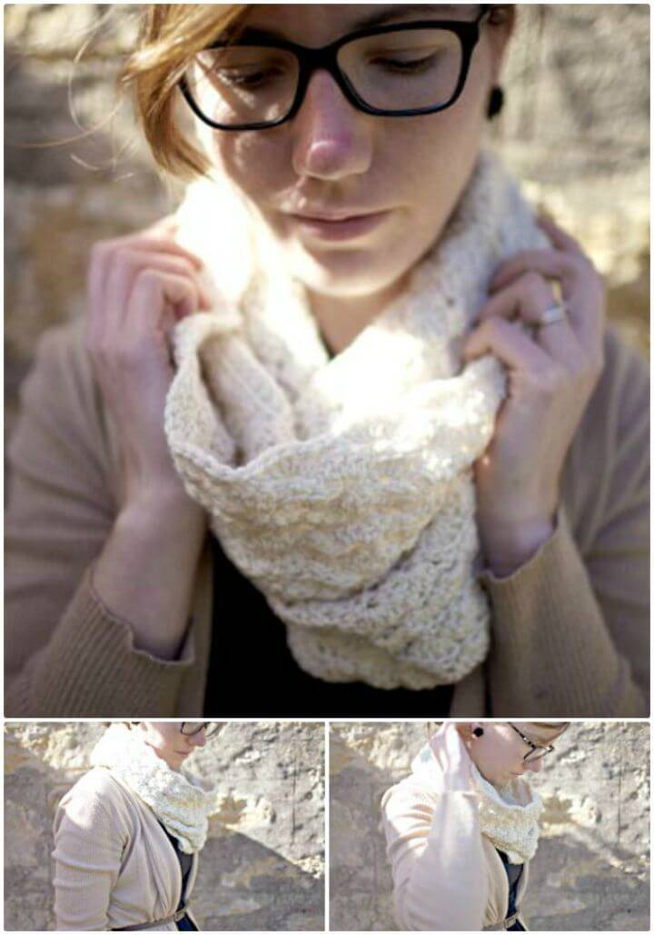 Free Crochet Shell Stitch Cowl In Ecru Pattern