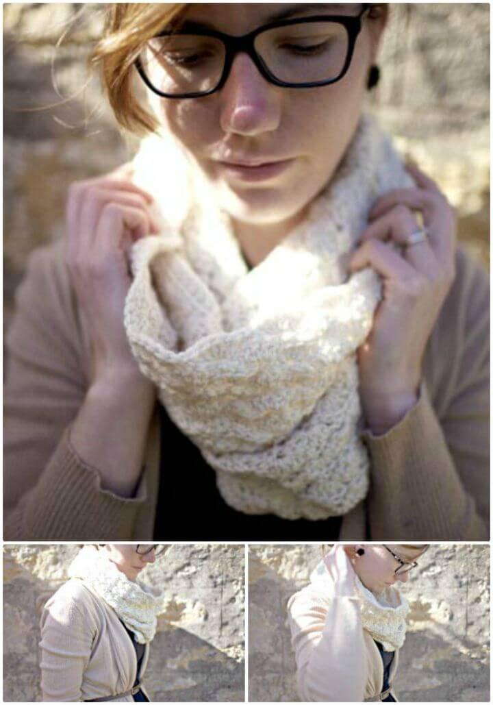 Free Crochet Shell Stitch Cowl In Ecru Pattern