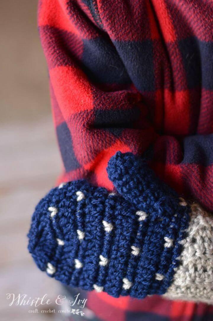 DIY Snowfall Crochet Mittens