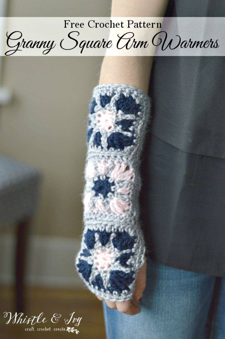 Free Crochet Starburst Granny Square Arm Warmers Finger-Less Pattern