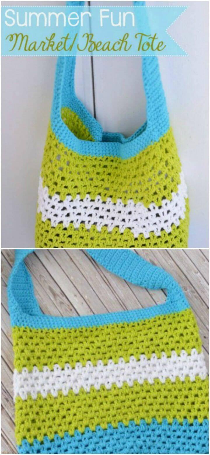DIY Summer Beach Tote - Free Crochet Pattern