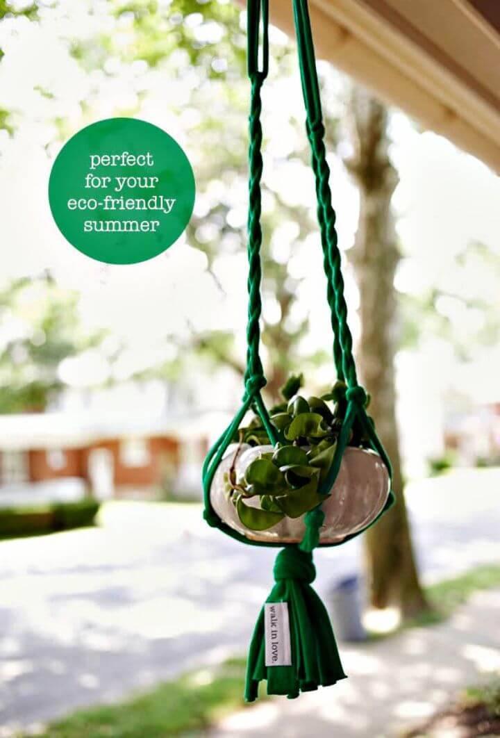 DIY T - Shirt Macrame Plant Hanger