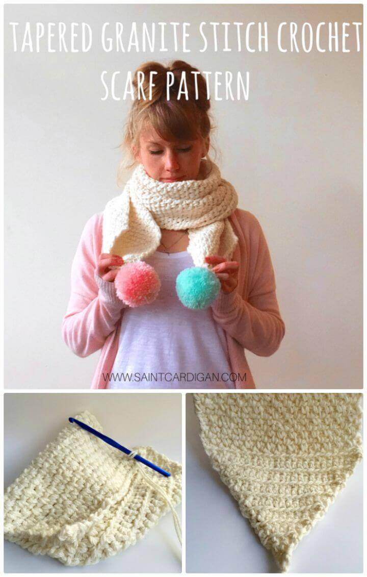 Free Crochet Tapered Granite Stitch Crochet Scarf Pattern (With Pompoms Pattern