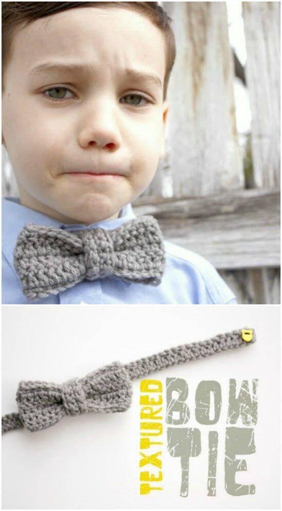 Free Crochet Textured Bow Tie Pattern