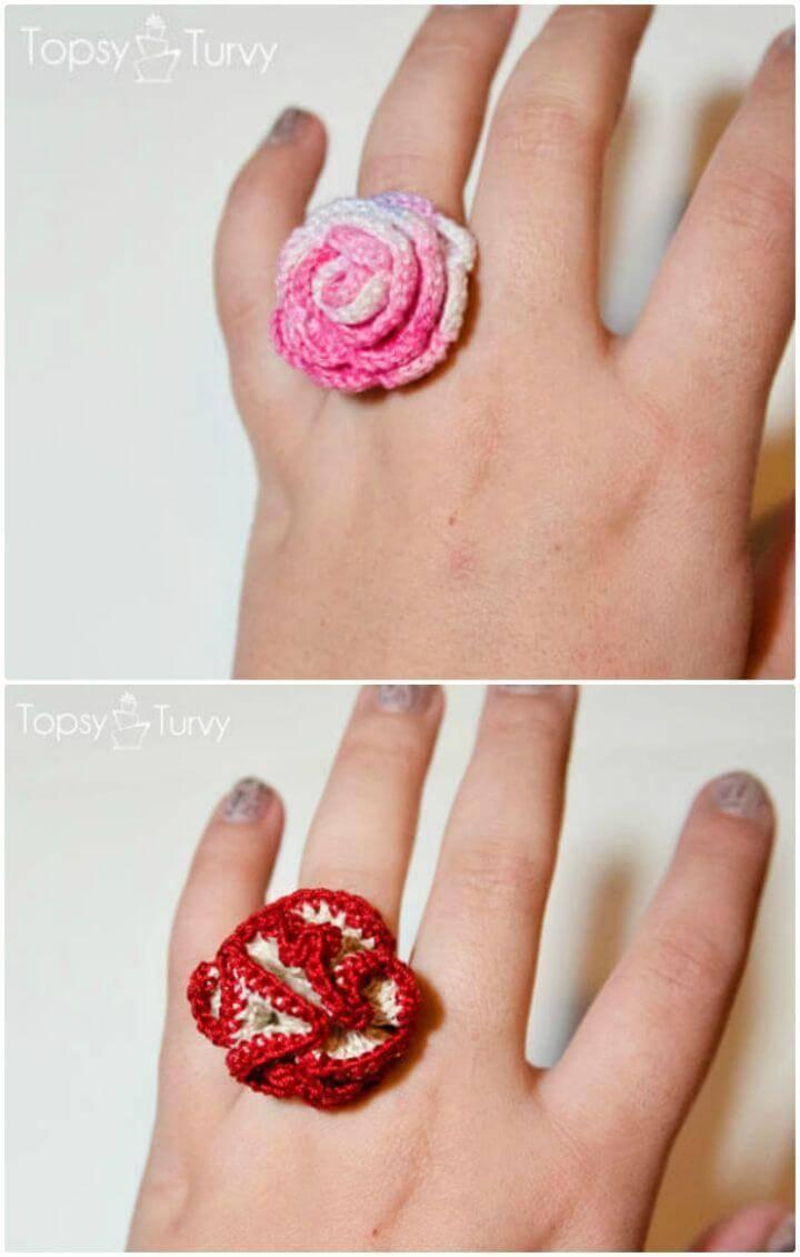 Easy Thread Crochet Rose Ring Pattern