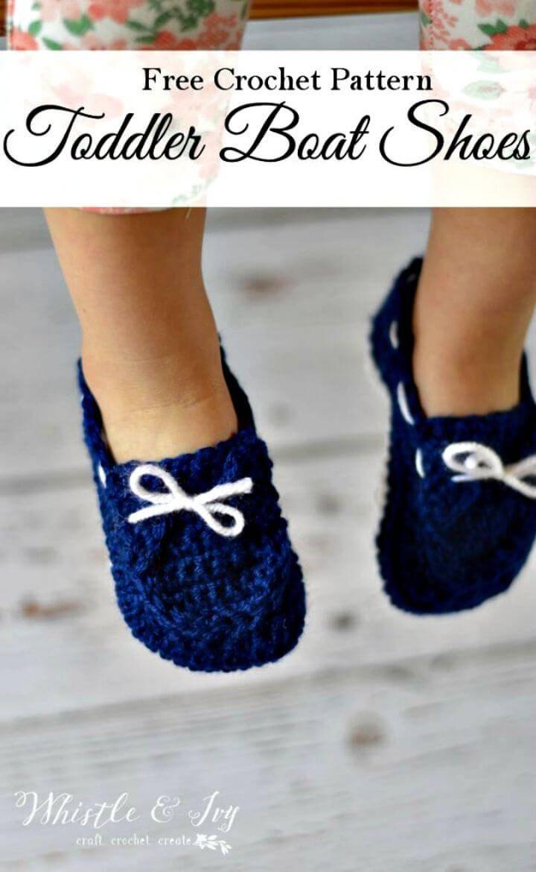 Free Crochet Toddler Boat Slippers Pattern