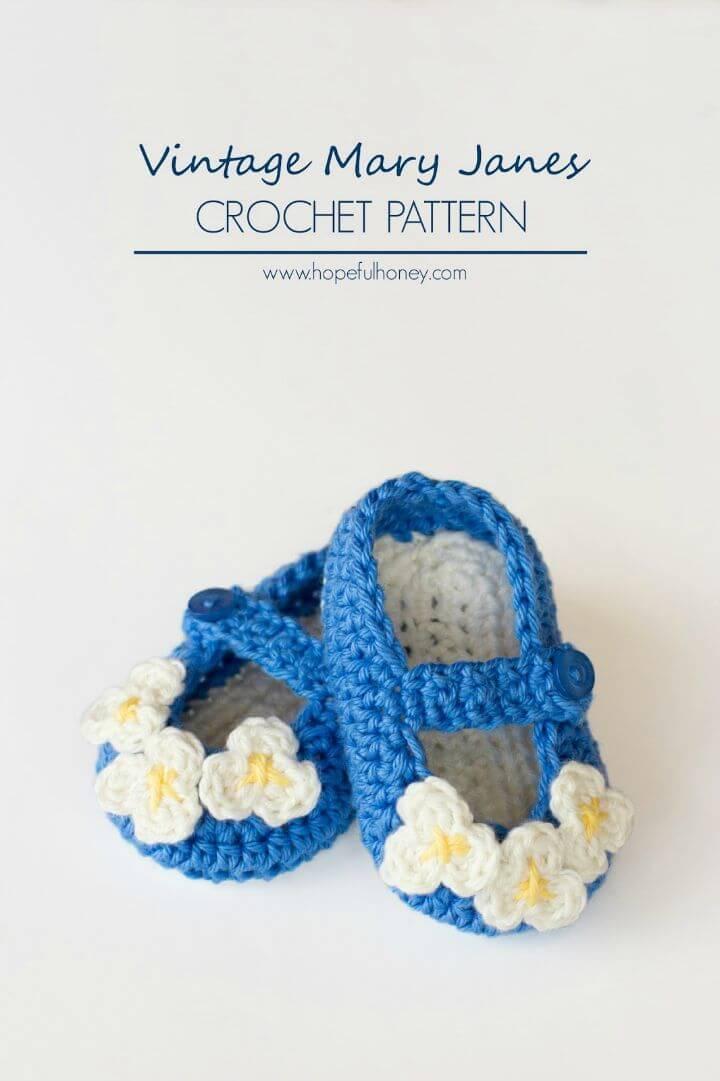 Free Crochet Vintage Mary Jane Baby Booties Pattern