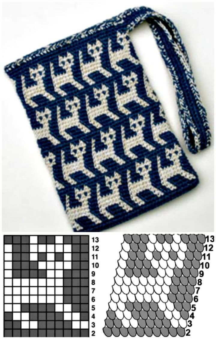 Wonderful Tapestry Crochet Kitty Bag