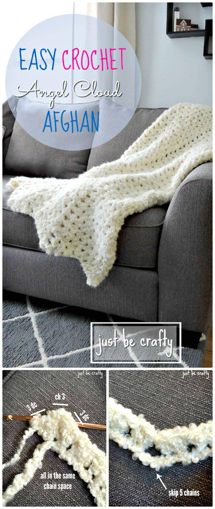Easy Free Crochet Angel Cloud Afghan Pattern