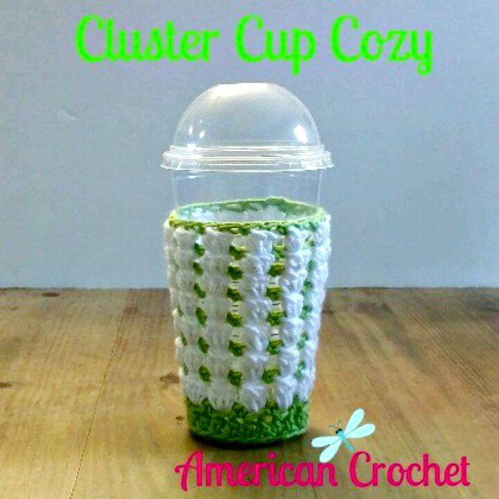 Easy Free Crochet Cluster Coffee Cup Cozy Pattern