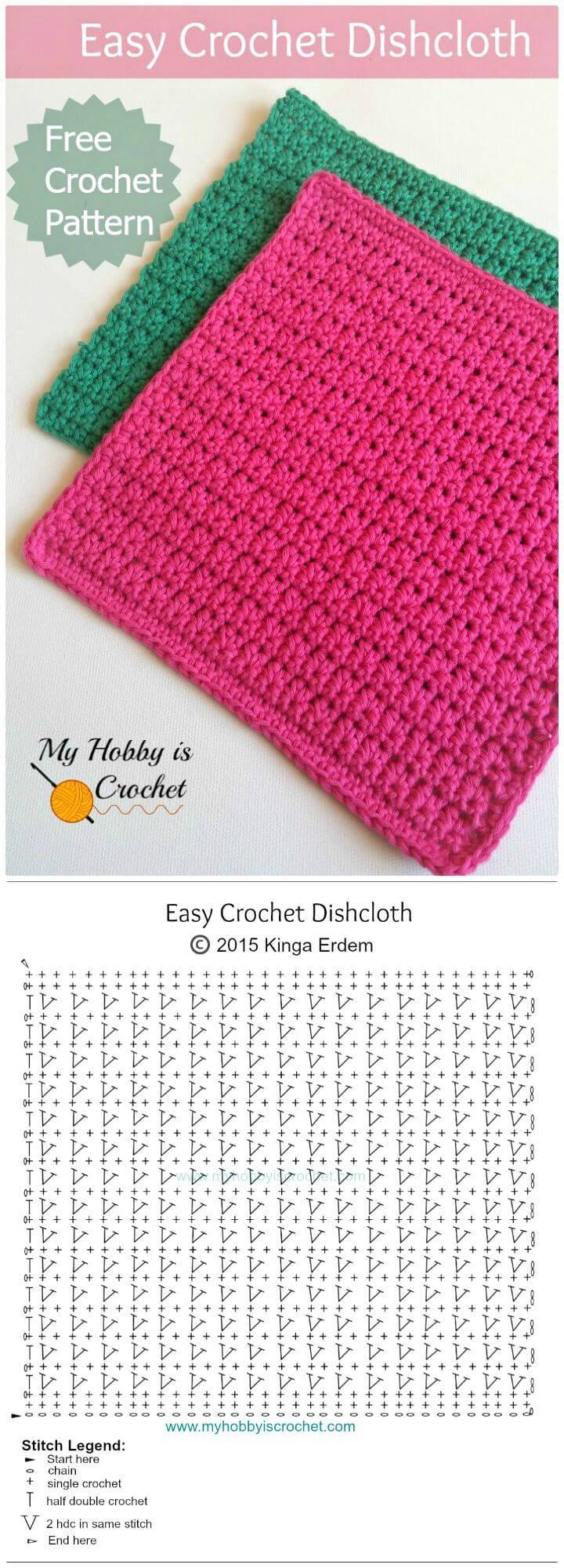 Easy Crochet Red Dishcloth - Free Crochet Pattern