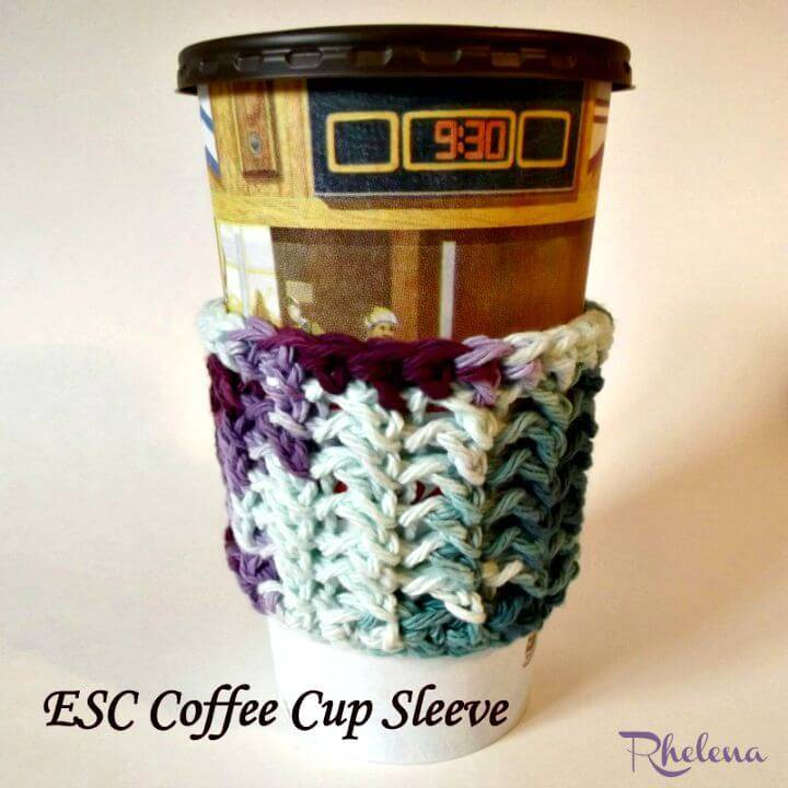 Easy Crochet Esc Coffee Cup Sleeve Cozy - Free Pattern