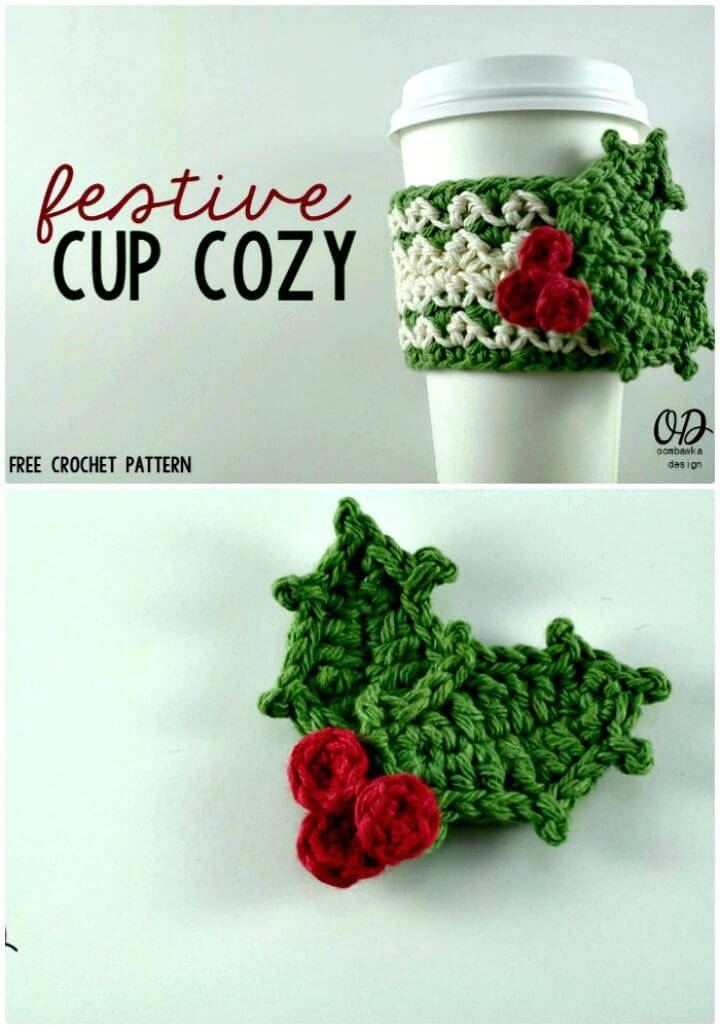 How To Crochet Festive Cup Cozy - Free Pattern