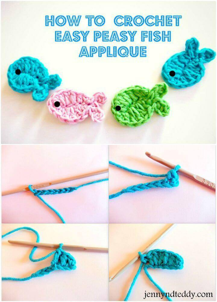 Easy Free Crochet Fish Applique Pattern for Beginners