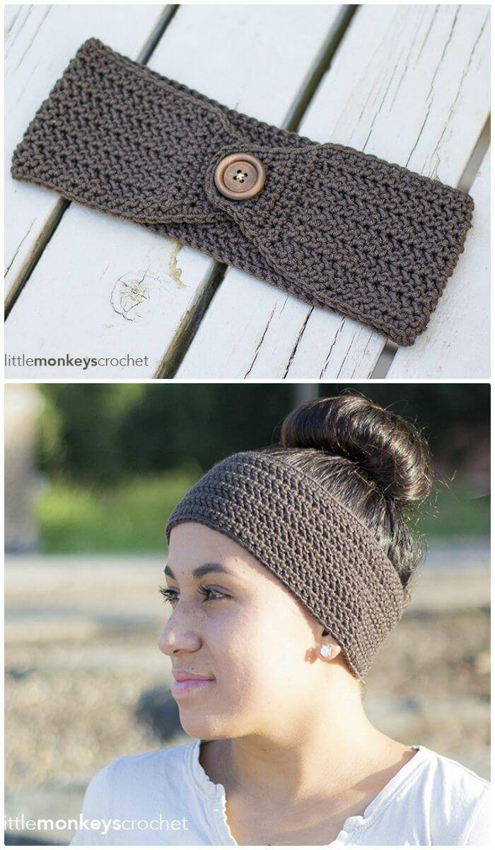 Easy Free Crochet Herringbone Earwarmer Pattern