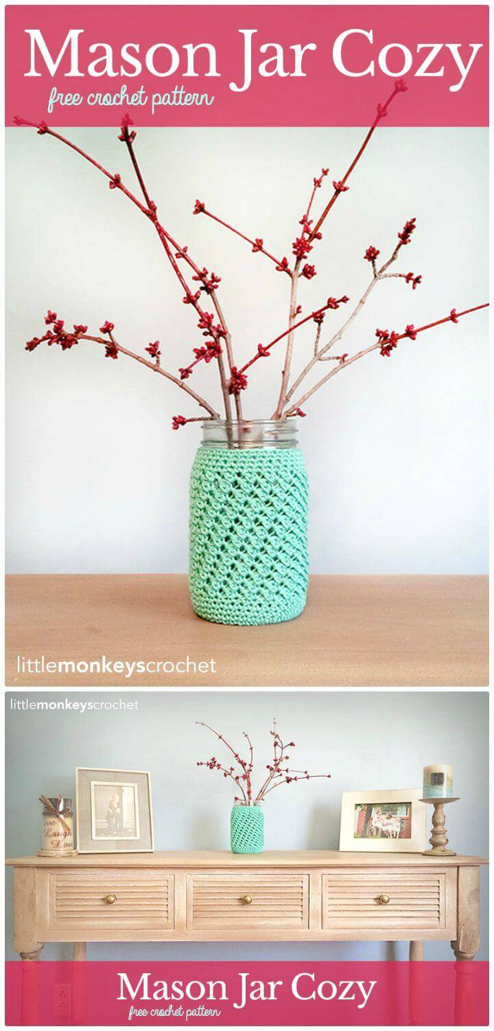 How To Easy Crochet Mason Jar Cover - Free Pattern