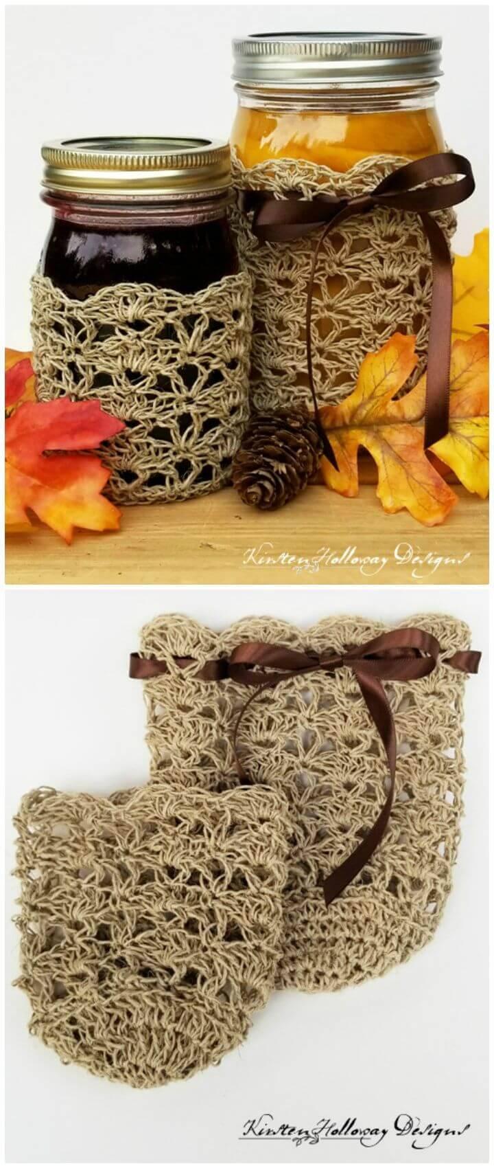 Easy Crocheted Rustic Elegance Canning Jar Cozy Set - Free Pattern