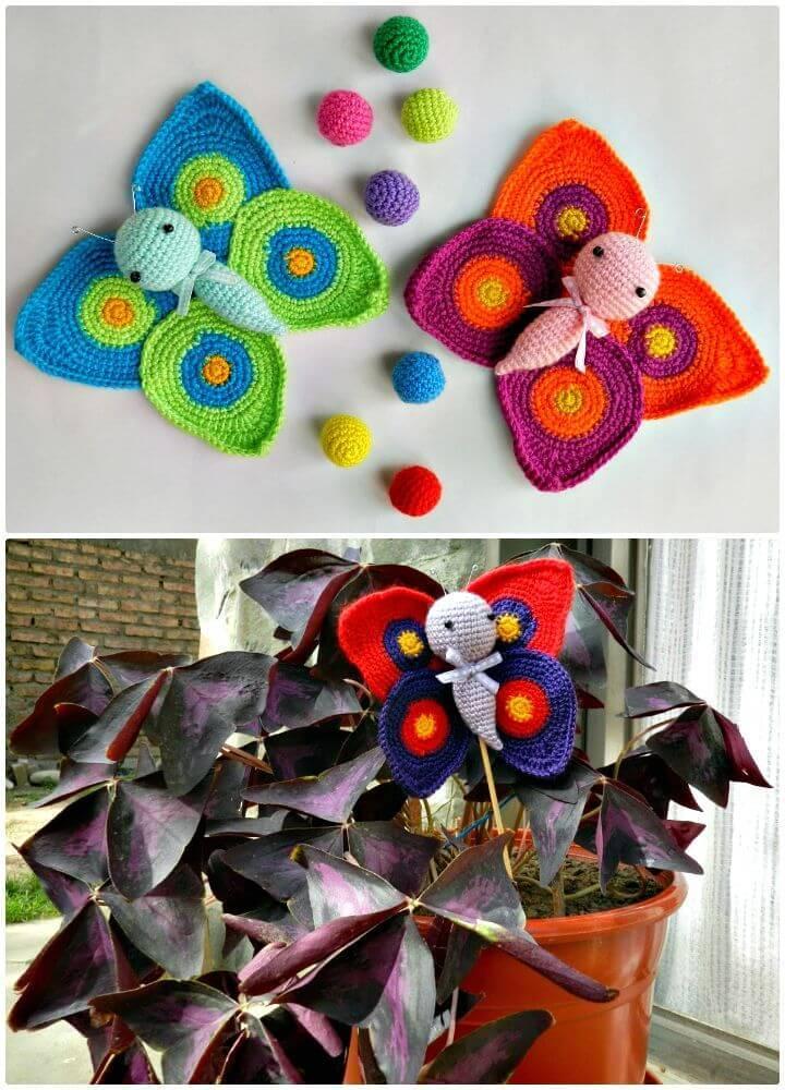 Easy Free Crochet Amigurumi Butterflies + Pattern
