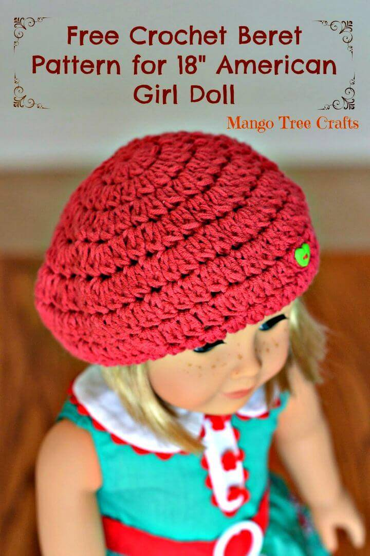 "Free Crochet Beret Hat Pattern For 18"" American Girl Doll"