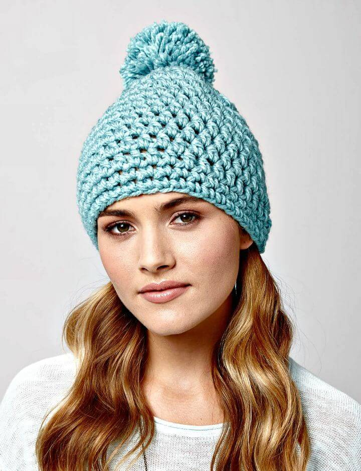 How To Easy Free Crochet Bernat Quick Pompom Hat Pattern