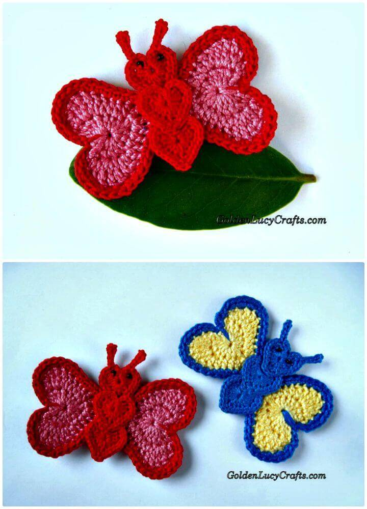 Easy Free Crochet Butterfly Applique Pattern