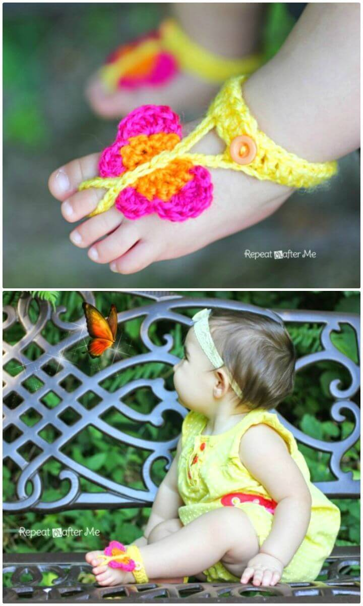 Easy Free Crochet Butterfly Barefoot Sandals - Free Pattern
