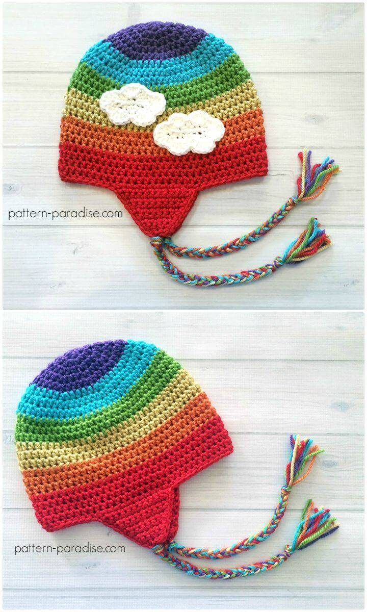 Easy Free Crochet Ear-flap Hat Pattern