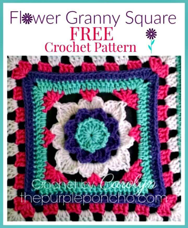 How To Easy Free Crochet Flower Granny Square Pattern