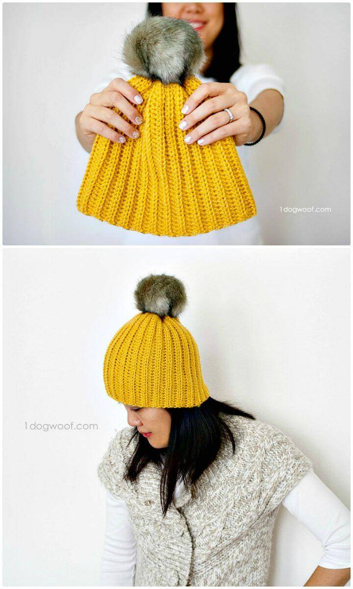 Free Crochet Lolly-Poms Ribbed Beanie Hat Pattern