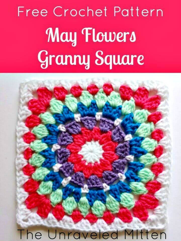 Easy Free Crochet May Flowers Granny Square Pattern