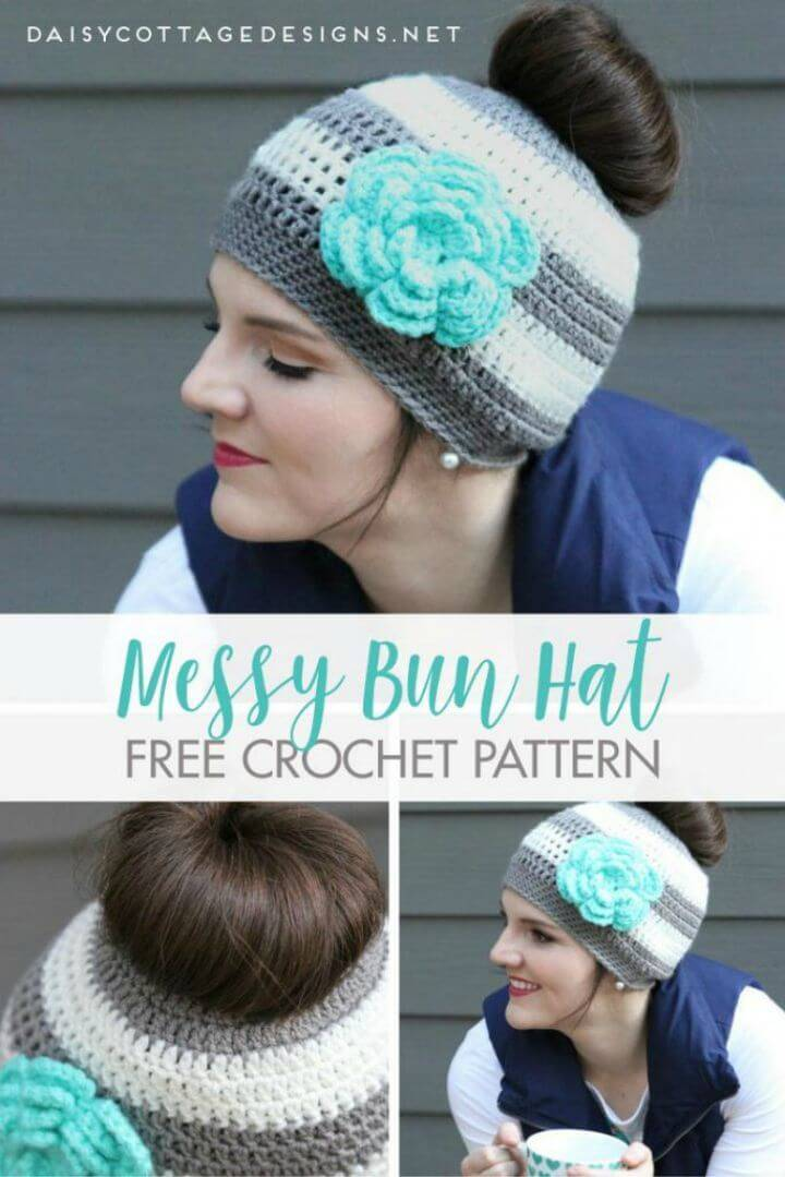 Easy Free Crochet Messy Bun Hat - Crochet Pattern