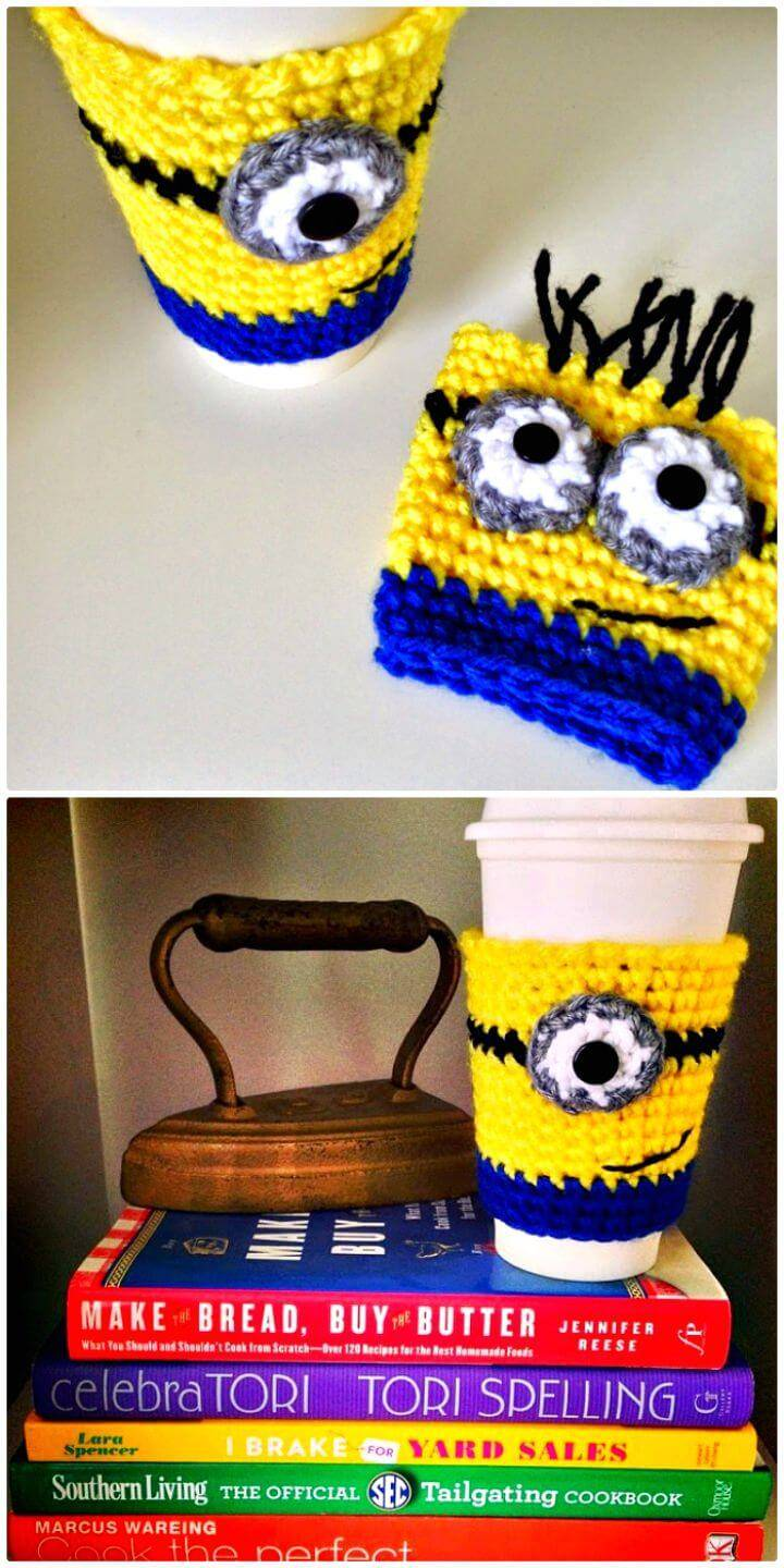 Easy Free Crochet Minion Coffee Cozy Pattern