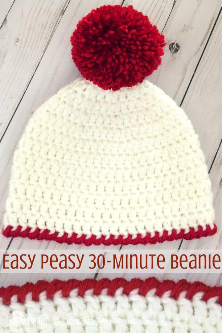 Crochet Peasy 30-Minute Beanie Hat - Free Pattern