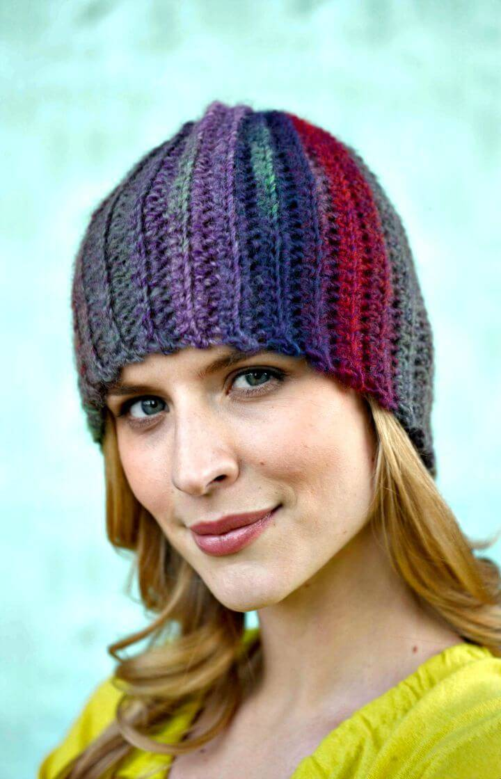 How To Easy Free Crochet Sideways Hat Pattern